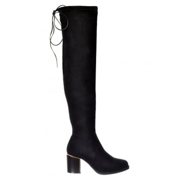 Shoekandi Over The Knee Thigh High Gold High Heeled Detail Boot - Black Suede