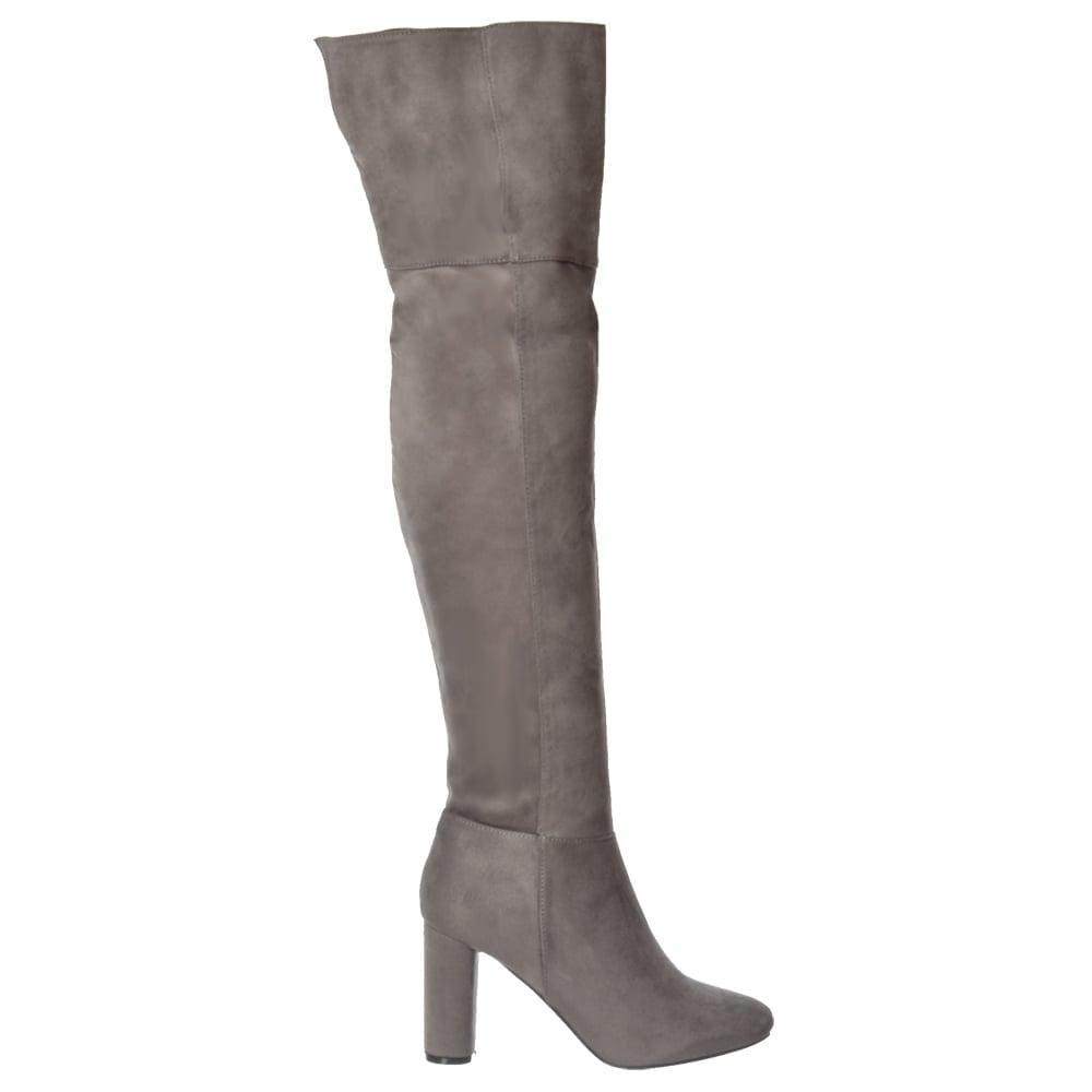 shoekandi the knee thigh high heeled boot black