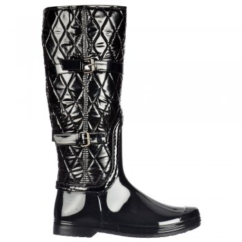 Shoekandi Padded Inner Flat Quilted Wellington Riding Rain Boots - Black Patent Quilted