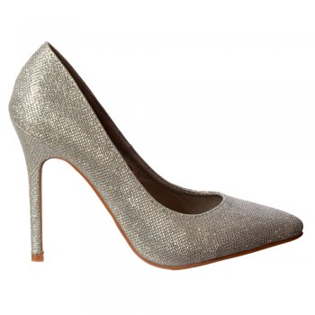 Shoekandi Party Mid Heel Pointed Toe Glitter Court Shoes  -  Silver Mesh, Black Mesh