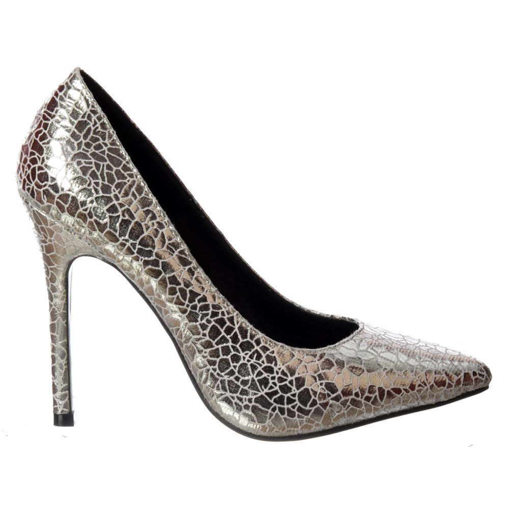 Shoekandi Party Mid Heel Pointed Toe Glitter Court Shoes