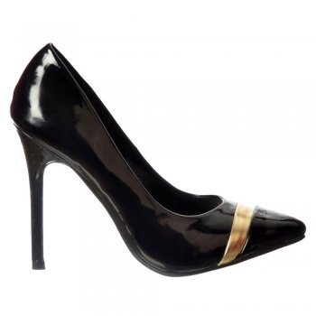 Shoekandi Party Mid Heel Pointed Toe Gold Detail Court Shoes - Black Patent