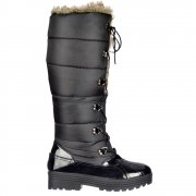 Patent Quilted Knee High Snow Boot Fully Fur Lined  - Lace Up - Black, Brown