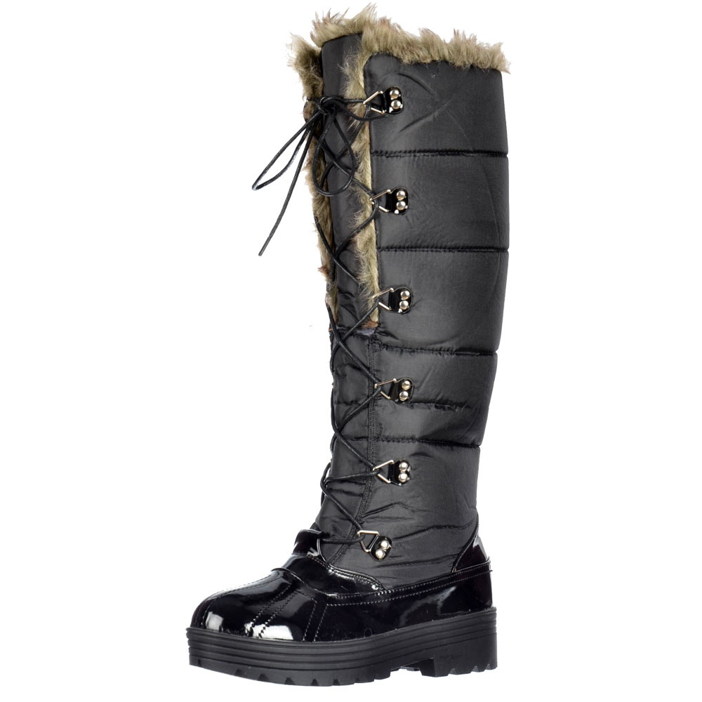 shoekandi patent quilted knee high snow boot fully fur