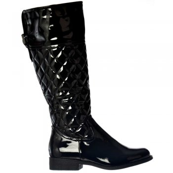 Shoekandi Patent Riding Boots - With Quilted Effect - Black Patent