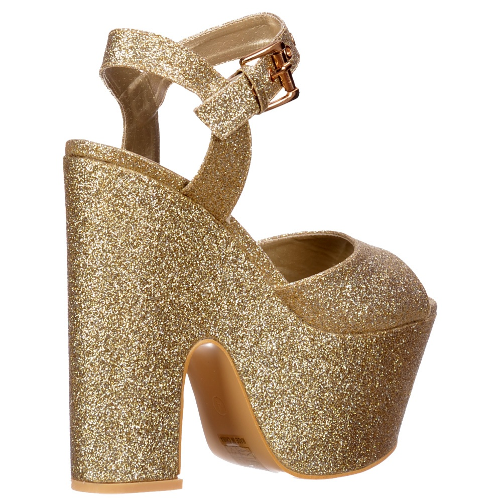 Shoekandi Peep Toe Demi Wedge Chunky Heels Strappy Sandal Gold Glitter 33