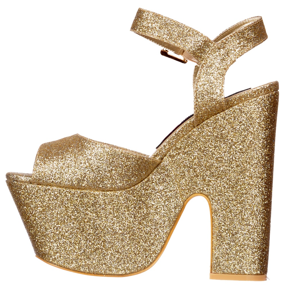 Shoekandi Peep Toe Demi Wedge Chunky Heels - Strappy Sandal - Gold ...