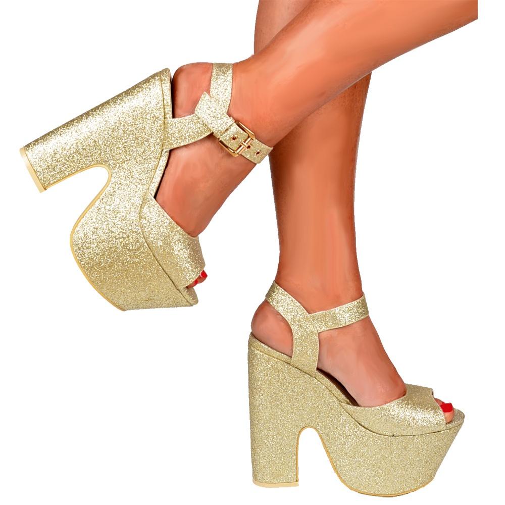Shoekandi Peep Toe Demi Wedge Chunky Heels - Strappy Sandal - Gold