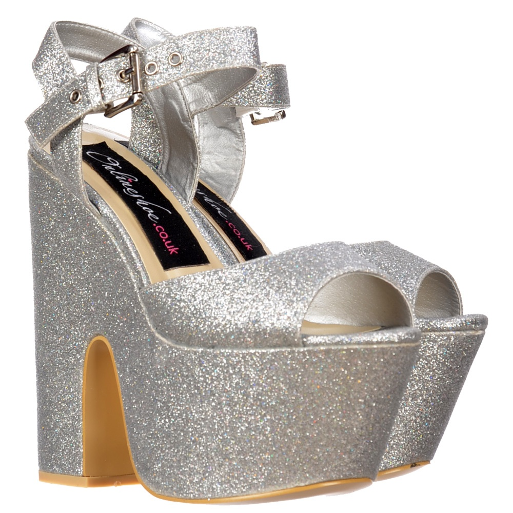 Chunky Heel Silver Shoes - Is Heel