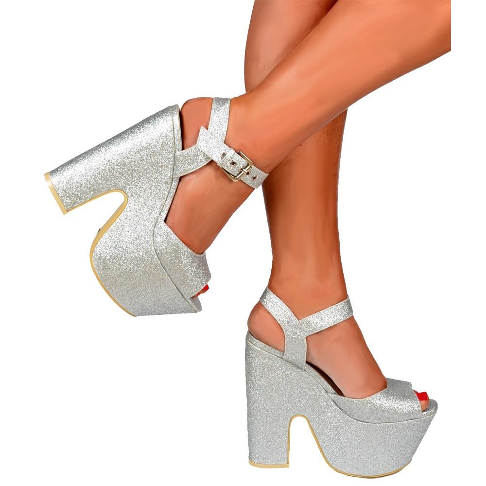 09d317b2ce7 ... Shoekandi Peep Toe Demi Wedge Chunky Heels - Strappy Sandal - Silver  Glitter ...