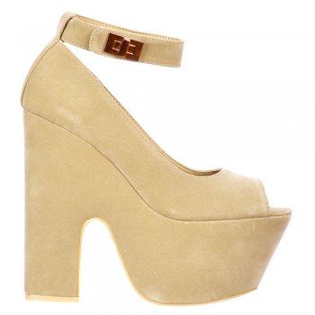 Shoekandi Peep Toe Demi Wedge Chunky Heels - Velcro Ankle Strap - Cream Beige Suede