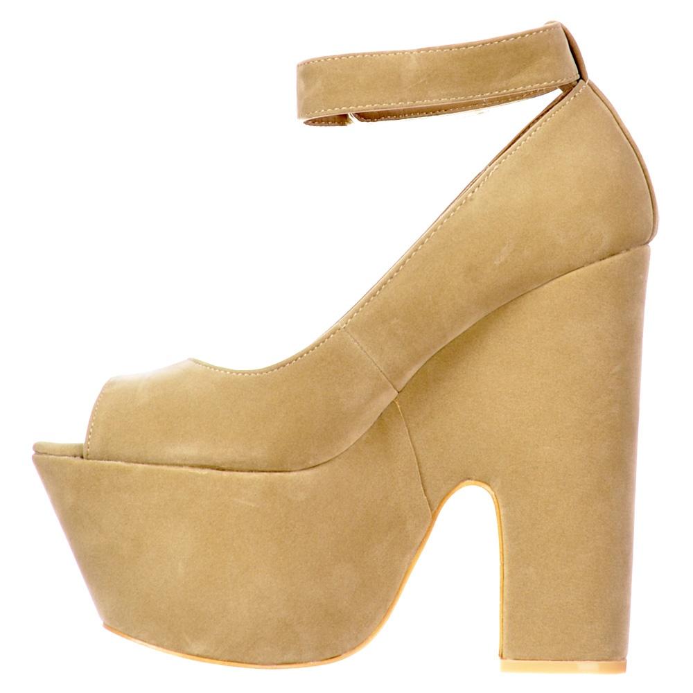 Cream Chunky Heel Shoes