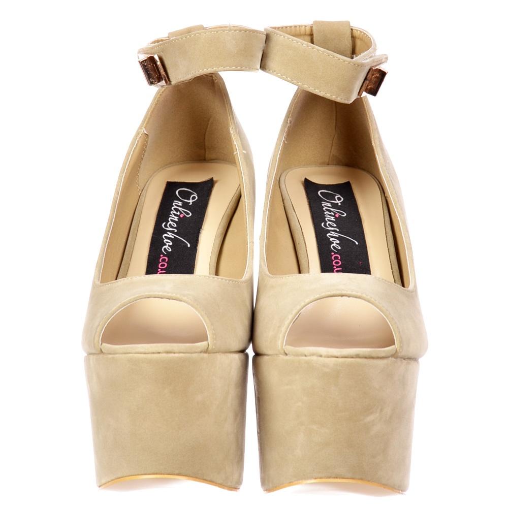 f64722a42c8e ... Shoekandi Peep Toe Demi Wedge Chunky Heels - Velcro Ankle Strap - Cream  Beige Suede ...