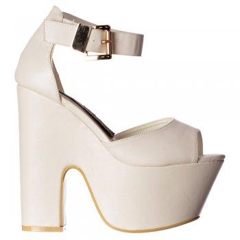 Shoekandi Peep Toe Demi Wedge Party High Heels - Buckled Ankle Strap - Black Suede, Fuchsia Suede, White PU