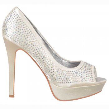 Shoekandi Peep Toe Diamante Crystal Stiletto Platform Bridal Shoes - Ivory Satin