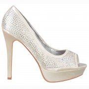 Peep Toe Diamante Crystal Stiletto Platform Bridal Shoes - Ivory Satin