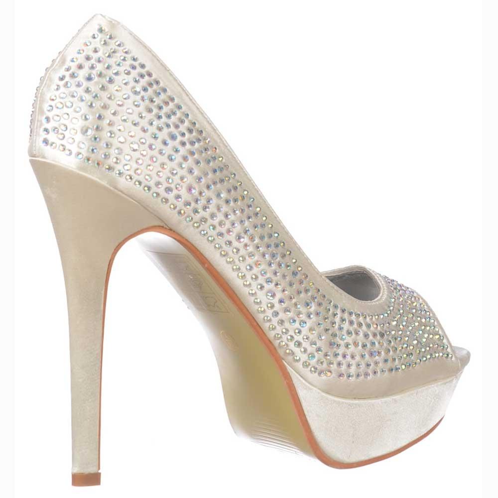 ... Shoekandi Peep Toe Diamante Crystal Stiletto Platform Bridal Shoes - Ivory  Satin ... 073029a13d50