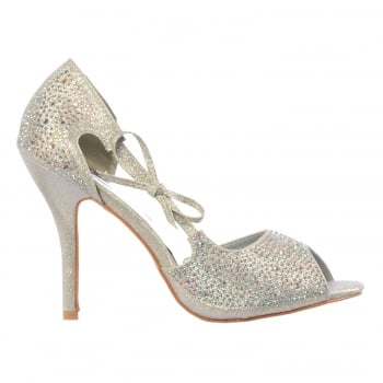 Shoekandi Peep Toe Diamante Party Heel With Bow