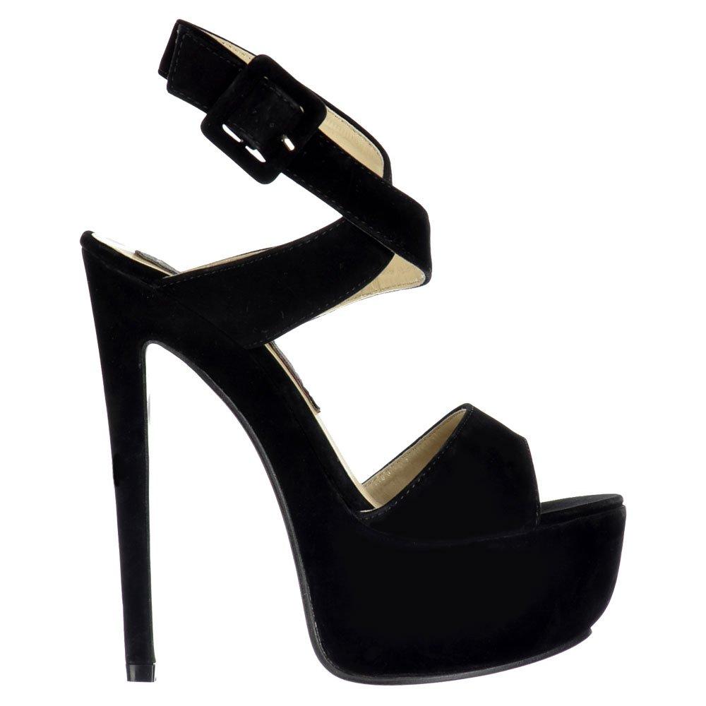 0325c780fed Shoekandi Peep Toe High Heel Stiletto - Wrap Around Ankle Strap - Black