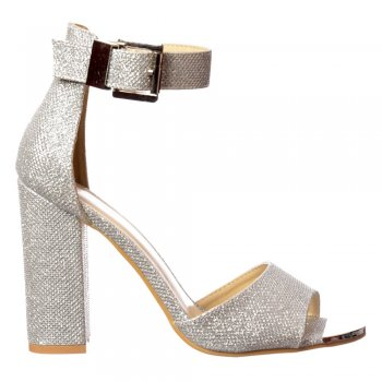 Shoekandi Peep Toe Mid Heels - High Back Strappy Sandals Buckled Ankle Cuff - Silver, Gold, Red, Black