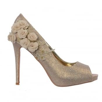 Shoekandi Peep Toe Party Evening Bridal Heel - Flower