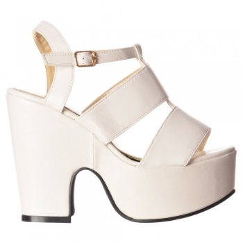 Shoekandi Peep Toe Platform Mid Heel Summer Sandal - Cut Out Sides - Black, White, Silver Hologram