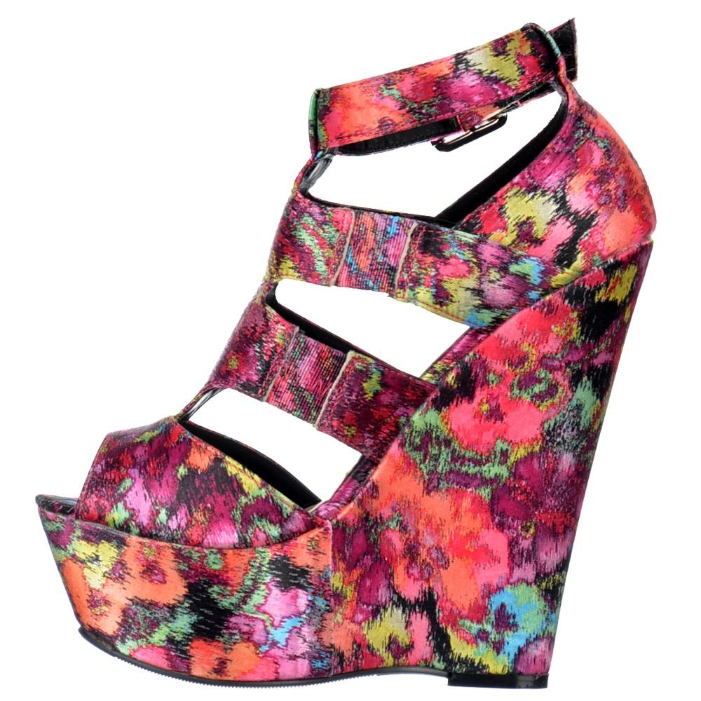 e290fe5c3134 ... Shoekandi Peep Toe Satin Wedge Platform Shoes - Strappy Gladiator  Sandals - Floral Multi ...