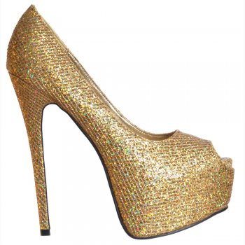 Shoekandi Peep Toe Sparkly Glitter Stiletto Concealed Platform High Heel Shoes - Gold