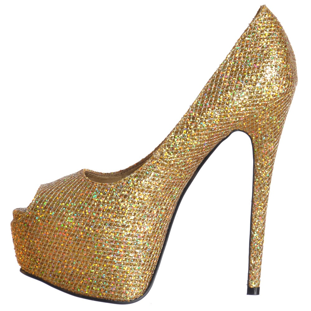 Gold Sparkly High Heels - Qu Heel