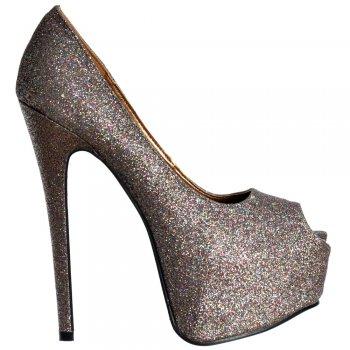 Shoekandi Peep Toe Sparkly Glitter Stiletto Concealed Platform High Heel Shoes - Multi Glitter