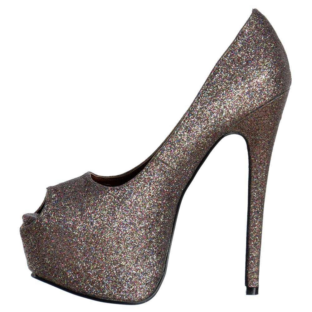 608d31ac94d9 ... Shoekandi Peep Toe Sparkly Glitter Stiletto Concealed Platform High  Heel Shoes - Multi Glitter ...