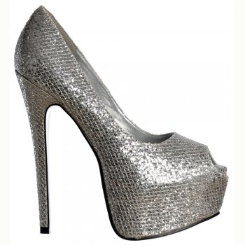 Shoekandi Peep Toe Sparkly Glitter Stiletto Concealed Platform High Heel Shoes - Silver
