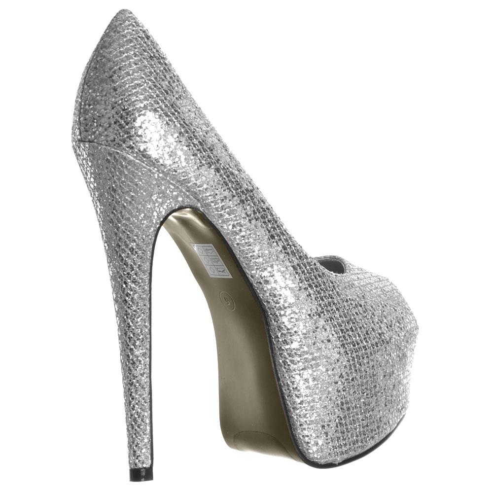 ... Shoekandi Peep Toe Sparkly Glitter Stiletto Concealed Platform High Heel  Shoes - Silver ... bd222fadad