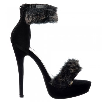 Shoekandi Peep Toe Stiletto High Heels - High Back Strappy Sandals Faux Fur Ankle Cuff - Black