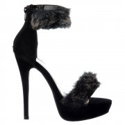 Peep Toe Stiletto High Heels - High Back Strappy Sandals Faux Fur Ankle Cuff - Black