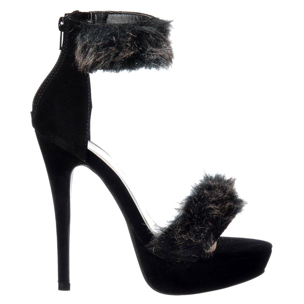 Shoespie Black & White Furry Stiletto Heel Knee High Boots