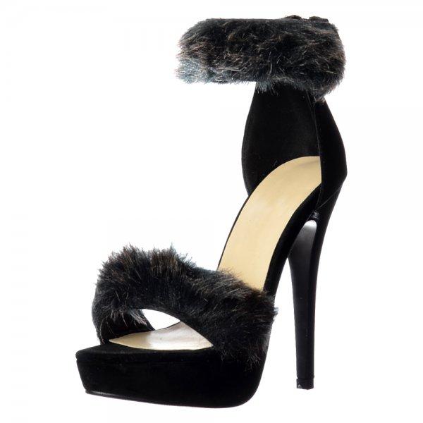 08d34026a10 Shoekandi Peep Toe Stiletto High Heels - High Back Strappy Sandals Faux Fur Ankle  Cuff -. ‹ View All Shoekandi  ‹ ...