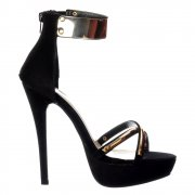 Peep Toe Stiletto High Heels - High Back Strappy Sandals Gold Ankle Cuff - Black, Red