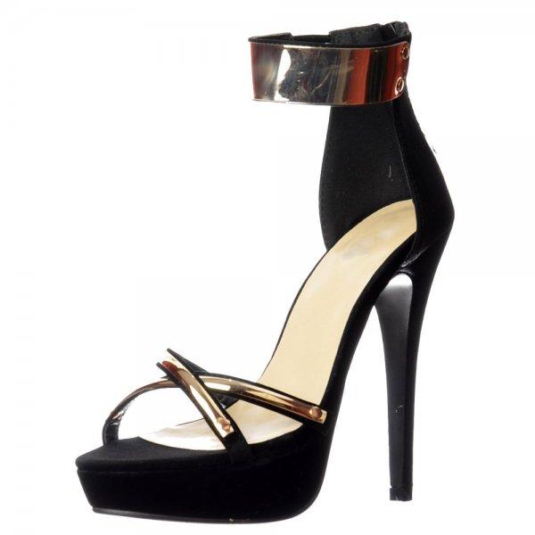 b87d4908104 Shoekandi Peep Toe Stiletto High Heels - High Back Strappy Sandals Gold  Ankle Cuff - Black