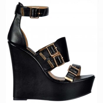 Shoekandi Peep Toe Strappy Wedge Platforms - Buckles - Black