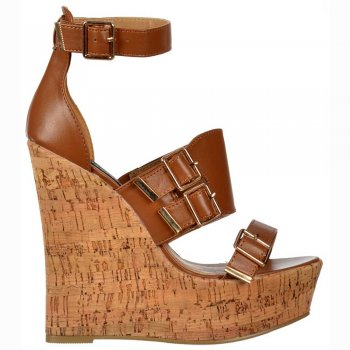 Shoekandi Peep Toe Strappy Wedge Platforms - Buckles - Tan Cork Heel