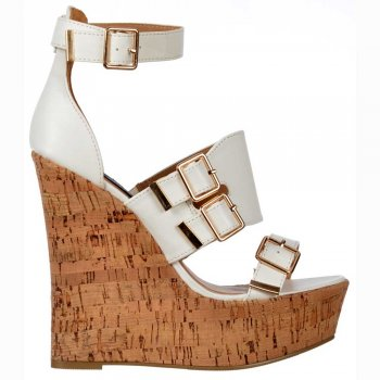 Shoekandi Peep Toe Strappy Wedge Platforms - Buckles - White Cork Heel
