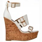 Peep Toe Strappy Wedge Platforms - Buckles - White Cork Heel