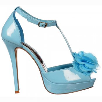 Shoekandi Peep Toe T Bar Stiletto - Flower Detail - Blue Pastel