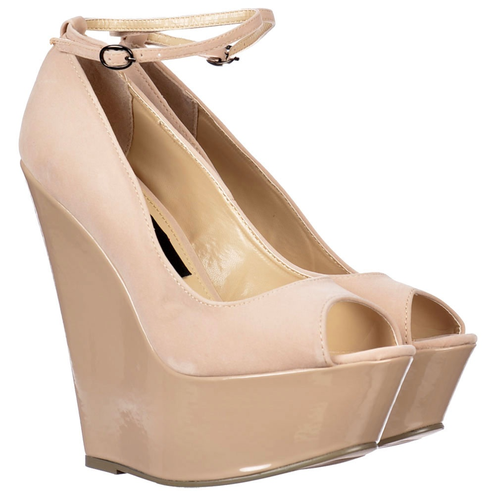 5380653a8b9 ... Shoekandi Peep Toe Wedge With Ankle Strap -Suede With Patent Heel - Nude    Beige ...