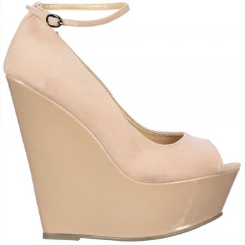 Shoekandi Peep Toe Wedge With Ankle Strap -Suede With Patent Heel - Nude / Beige