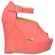 Platform Criss Cross Wedges - Ankle Strap - Coral Suede