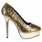 Platform Party High Heels - Glitter and Metallic - Silver, Gold
