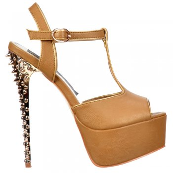 Shoekandi Platform T Bar Stiletto Sandal - Gold Chrome Spiked Heel - Camel