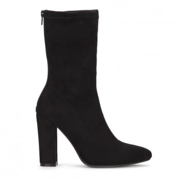 Shoekandi Pointed Toe Sock Ankle Boot Block Heel